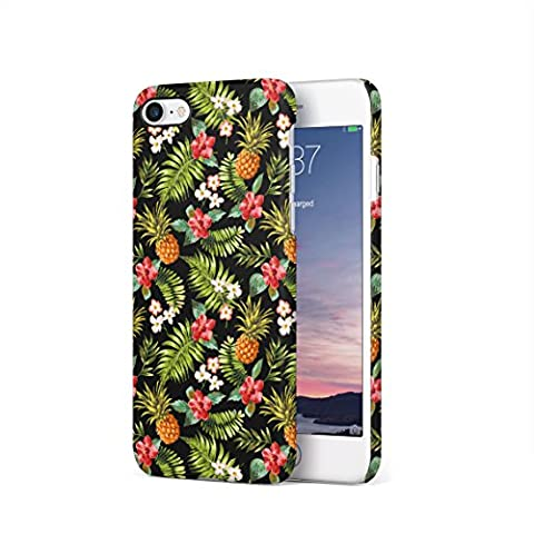 Tropical Pineapple, Hibiscus Flowers & Tropical Jungle Pattern Hard Thin Plastic Phone Case Cover For iPhone 7