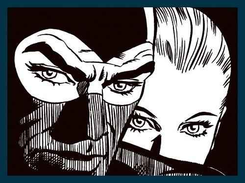 Bild mit Rahmen Astorina - Insieme nella Notte - Holz blau, 80 x 60cm - Premiumqualität - Modern, Grafik, Comic, Mann, Frau, Gesicht, Maske, Nachtszene, schwarz / weiß, Jugendzimmer - MADE IN GERMANY - ART-GALERIE-SHOPde -