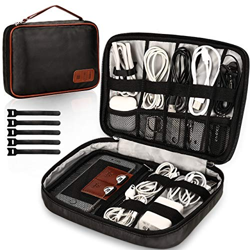 GIKPAL Kabeltasche, Elektronik Organizer Tasche und Handliche Elektronik Tasche Reise für SD-Karten, Festplatte, Power Bank (Schwarz)