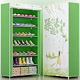UYEdecor Pintura 3D 8-Layer 7-Grid Zapatería Tejidos no Tejidos Organizador Grande del gabinete del Zapato Almacenaje desprendible del Zapato para los Muebles caseros 07C-1CH Green
