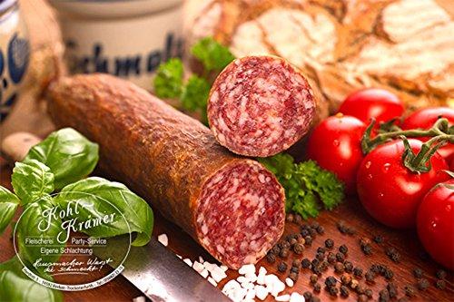 Die Weltmeister Wurst! Ahle Wurst nordhessische Spezialität perfekte Geschenkidee – Stracke edel Salami geräuchert am Stück - luftgetrocknete Mettwurst – (fest -geräuchert, 400 gr)
