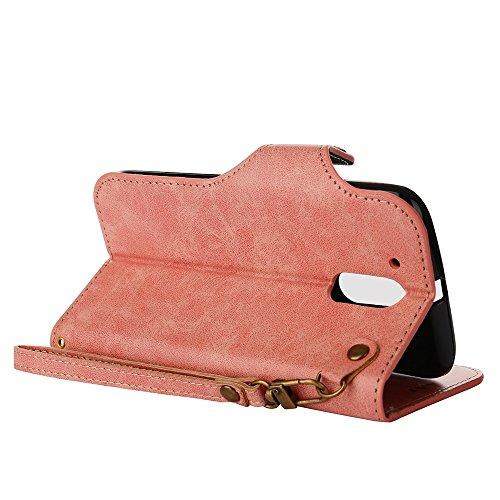 YHUISEN Moto G4 / G4 Plus case, Luxus Retro Rose Premium PU Leder Magnetverschluss Flip Wallet Schutzhülle mit Lanyard für Motorola Moto G4 / G4 Plus ( Color : Light Green ) Pink