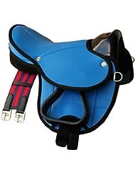 Frange De Selle Shetty Little Billy, Kit complet aussi Kit selle pour chevaux de bois–Couleur: Bleu clair pour poney ou ou Shetty bois cheval