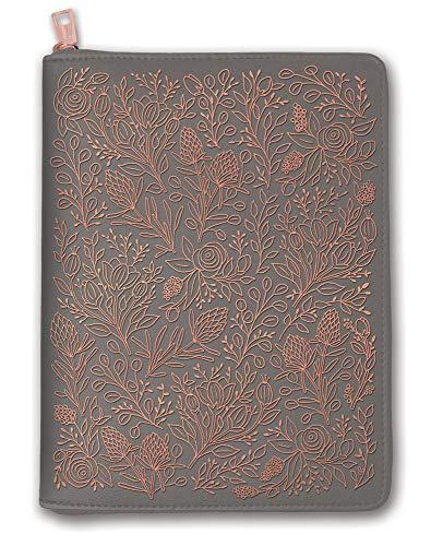 Orange Circle Studio 2020 Leatheresque Zip-Around Folio + Agenda Set, August 2019 - December 2020, Floral Vines Gray -