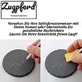 10er Set Premium Schiefer Untersetzer rund | inkl. Kreide u. Schwamm | Naturstein Schieferplatten Glasuntersetzer | Ø 10 cm - 4