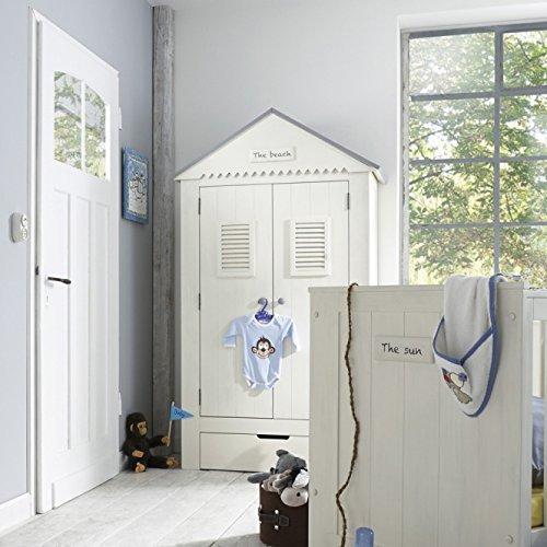 lounge-zone Kinderkleiderschrank Kleiderschrank THE BEACH Spitzdach Kiefer Massivholz weiss 2-türig 8972