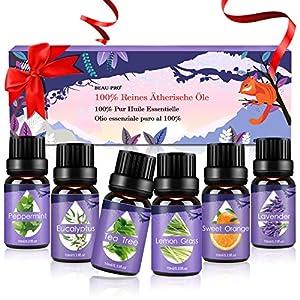 Ätherische Öle Set, Duftöle für Diffuser und Aromatherapie, 100% Reines Bio naturrein Aroma-Öl, 6 Verschiedene Aromen – Lavendel, Teebaum, Eukalyptus, Zitronengras, süße Orange, Pfefferminze