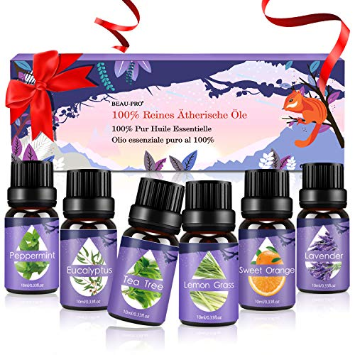 Scheda dettagliata Oli Essenziali per Diffusori,Aromaterapia Oli Essenziali Puri 100%,Naturali Essenze per Diffusori Ultrasuoni Top 6 Set-Lavanda,Eucalipto,Tea Tree,Lemongrass,Menta Piperita,Arancia Dolce,6x10 ml