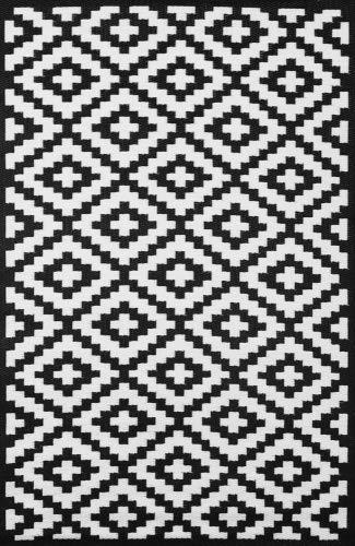 Green Decore Nirvana für Innen und Außen / Federleicht / Wendbarer Ökoteppich , Grau / Weiß (70 x 180 cm, Black / White)