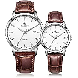STARKING Lover Couple Watches Men and Women Brown Leather Strap # AM0184SL91_AL0184SL91