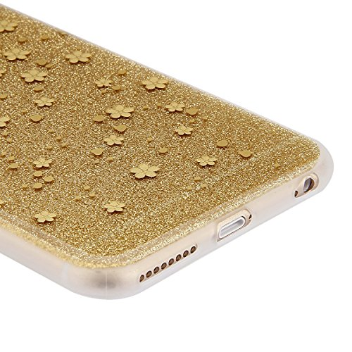 Coque Etui pour Apple iPhone 6 Plus/6S Plus, iPhone 6S Plus Coque Silicone Cerise Motif Etui, iPhone 6 Coque en Silicone Ultra-Mince Etui Housse avec Bling Diamant,iPhone 6 Plus/ 6S Plus Silicone Case or-prune fleur