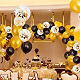 MMTX Luftballons Schwarz Gold Ballons 45 Stück Silvester Luftballons, Ballons Gold mit Gold Konfetti Luftballon für Damen Herren Geburtstag Deko, Deko Silvester 2019, Abschluss Halloween Party - 6