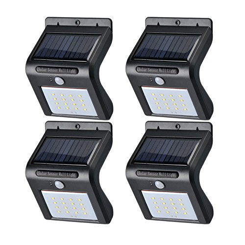 PUGO TOP Solar Lights Bright 16 LED Wireless Waterproof Security Lights Solar Powered Lights Outdoor Wall Lamp for Garden, Outside Wall-4 Packs