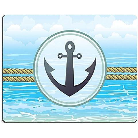 luxlady Gaming Mousepad imagen ID: 34187522Náutico con Ancla en un mar azul de etiqueta Antecedentes Vector Ilustración De Ocean Web Marino