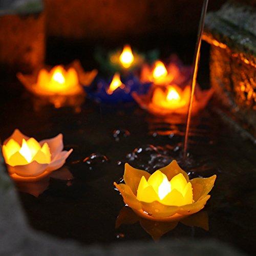 Velas de Lotus, Velas flotantes, Luz de vela sin llama de Lotus LED, Para hermoso Festival, Decoración para el hogar, Jardín, Estanque, Baterías, Paquete con CR2477 Batería, 7 colores, Paquete de 7