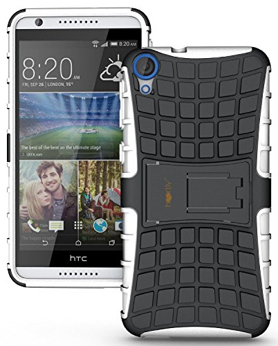 Heartly Flip Kick Stand Spider Hard Dual Rugged Armor Hybrid Bumper Back Case Cover For HTC Desire 820 820Q Dual Sim - Best White