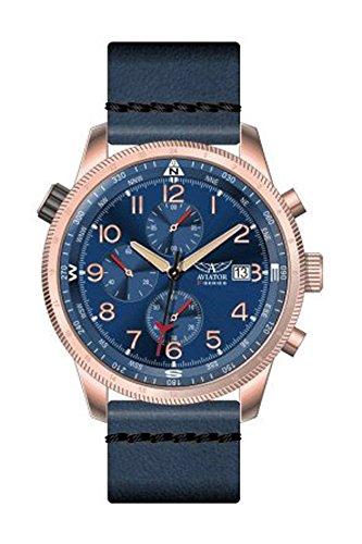 Aviator AVW2018G271 horloge heren - blauw - edelstaal PVD rosé