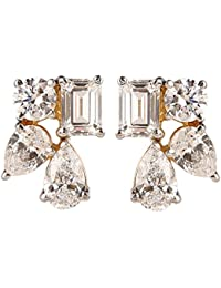 Somma 925 Silver Hallmarked Gold Plated Made With Swarovski Zirconia Earrings For Women