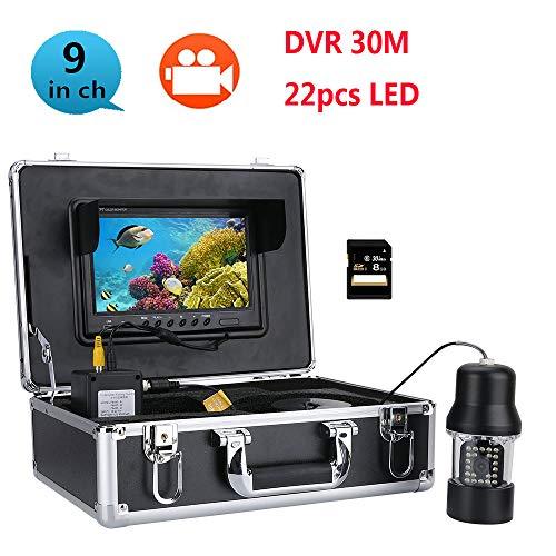 WG 30M Professionelle Unterwasserfischerei Video Kamera Fisch Finder 9 Zoll DVR-Recorder Farbbildschirm Wasserdicht 22 LEDs 360 Grad Rotierende Kamera