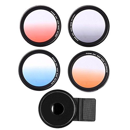 Zomei 37mm Handy Kamera Objektiv Filter Grau + Rot + Blau + Orange, Smart Phone Verlaufsfilter...