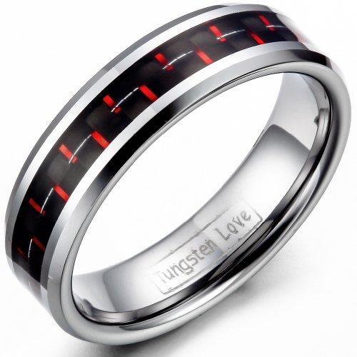 JewelryWe Schmuck 6mm Damen-Ring Wolframcarbid Hochzeit Band mit Rot&Schwarz Kohlenstoff Faser Inlay Engagement Ringe Größe 47 (Herren Schwarz Kohlenstoff Faser Ring)