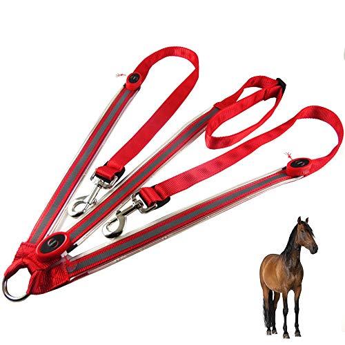 UTOPIAY LED-Brustgurt für Pferde/Batterie LED-Pferdegeschirr,Beste Sichtbarkeit beim Reiten, verstellbare,robuste und komfortable Sicherheitsausrüstung für EIN sichtbares Pferd,Red