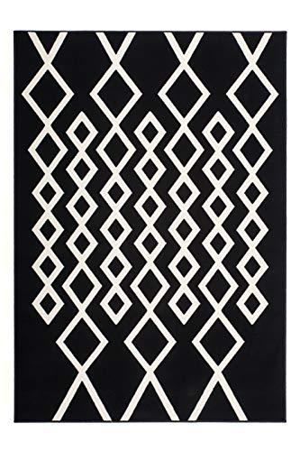 Kayoom Teppich Lina 400 Schwarz/Elfenbein, Größenauswahl:200 x 290 cm - Schwarz Elfenbein Teppich