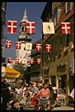 121062 Pedistrian Street With Flags Aalborg A4 Photo Poster