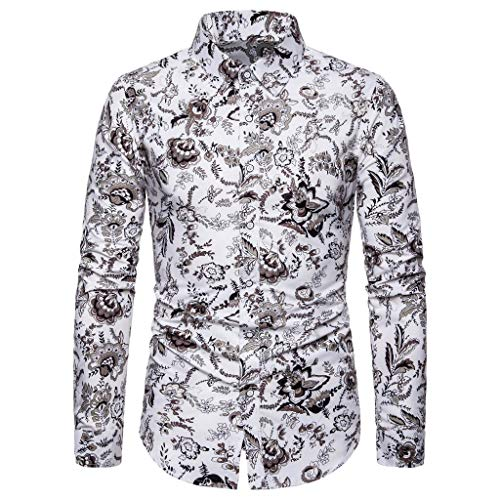 VWsiouev Herren Tropical Langarm Turn-Down-Kragen Blumendruck Beach Aloha Hawaiian Button Down Dress Shirt - Hawaiian Vintage Shirt