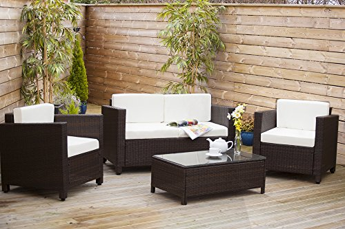 c3cb747dda8f New ROMA Rattan Wicker Weave Garden Furniture Patio Conservatory Sofa Set  INCLUDES OUTDOOR PROTECTIVE COVER