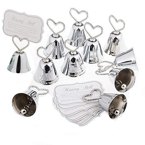 Jzk 20 x segnaposto campanelle tirabaci bomboniera matrimonio battesimo compleanno albero di natale halloween campanella cuore campana tirabaci
