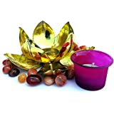 JAIPURCRAFT Diwali Gift, Gold Leafing Lotus Design Glass Votive Candle Holder (4Inch X 7.25 Inch)