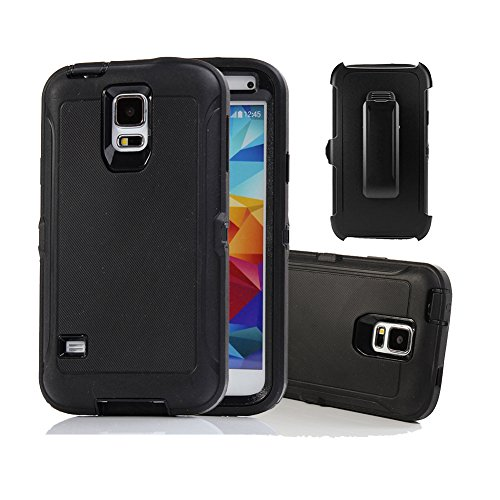 Galaxy S5 Holster Fall, harsel Defender Series Heavy Duty Baum Camo High Impact Tough Rugged Hybrid Rubber Schutz w 'Gürtelclip Integrierter Displayschutzfolie Schutzhülle für Galaxy S5, Schwarz