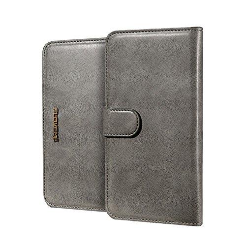 GHC Cases & Covers, FLOVEME für iPhone 6 Plus und 6s Plus, PU Crazy Horse Textur Magnetische abnehmbare horizontale Flip Ledertasche mit Kartensteckplätzen und Brieftasche ( Color : Brown ) Grey