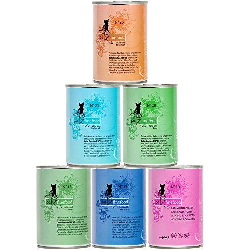 catz finefood Feinkost Katzenfutter nass Multipack 2, Sorten Mix-Paket 2 mit Huhn, Thunfisch, Rind, Rotbarsch, Lamm, Garnelen, Wild, 6 x 400 g Dosen