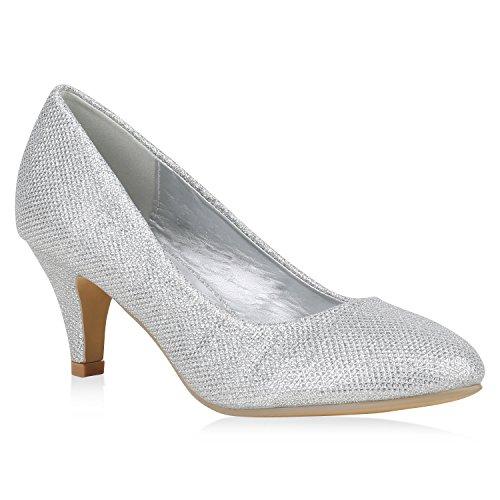 e2514a721359fe Damen Klassische Pumps Glitzer Stiletto Business Mid Heels Party Schuhe  Abendschuhe 153495 Silber 39 Flandell