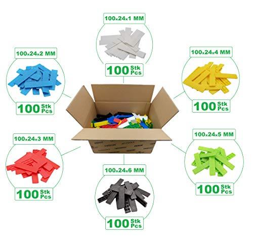 SILISTO Kunststoff Verglasungsklötze Set mehrfarbig 100 x 24 x 1-6 mm, 600 Stück