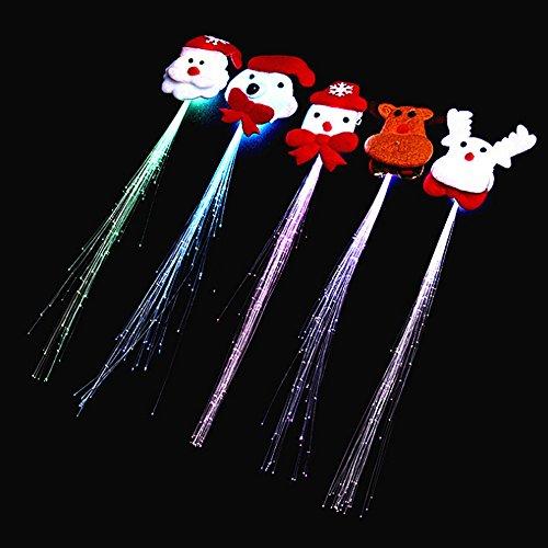 Newin Star Frauen Mädchen Perücken Glühlampe Taschenlampe LED Haar Braid Clip Wahrzeichen von Halloween Weihnachten Geburtstagsfeier Spielzeug (Packung mit 2) (zufällige Farbe)