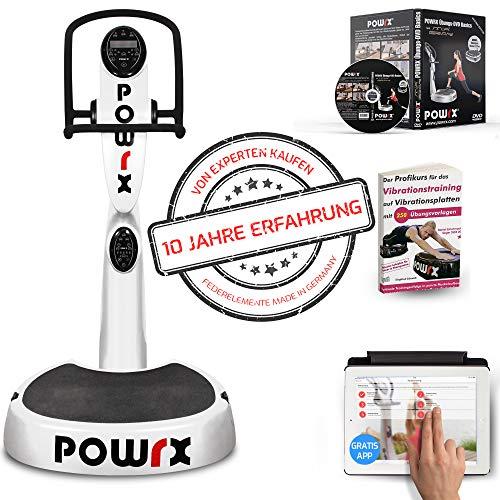 POWRX Vibrationsplatte mit Säule Active Evolution 2.7 inkl. Zubehörpaket I Effektives Vibrationstraining für zu Hause I in 4 Farben (Weiß)