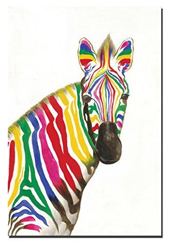 60x90cm - Leinwandbilder Wandkunst - Aquarell Zebra Leinwand Gemälde Tier Pferd Drucke auf Leinwand...