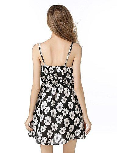 PU&PU Robe Aux femmes Mousseline de Soie Simple / Street Chic,Fleur A Bretelles Au dessus du genou Polyester BLACK-L