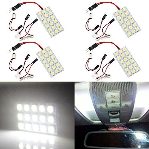 TABEN Blanc 5050 18smd 18-SMD LED Panel Dome Lampe + T10 BA9S Festoon Adaptateur (Lot de 2)