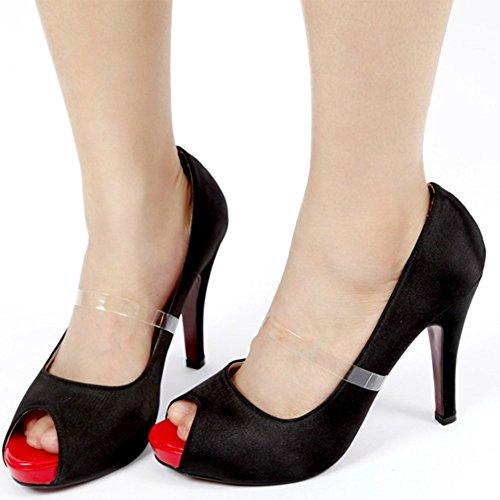 5 Paar Frauen Silikon unsichtbar Schuh Träger fixierbarem Ankle Straps für Wohnungen halten lose High Heel (3 Strap Boot)