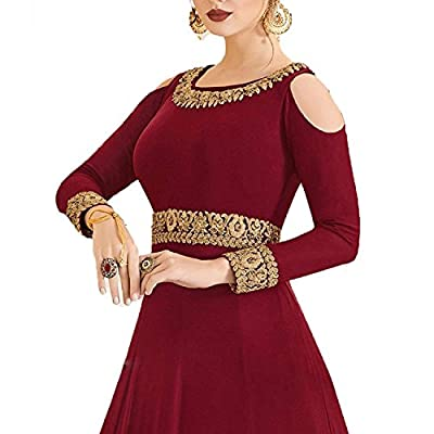 MONIKA SILK MILL Women's Georgette Embroidered Anarkali Salwar Suit (Maroon, Free Size)