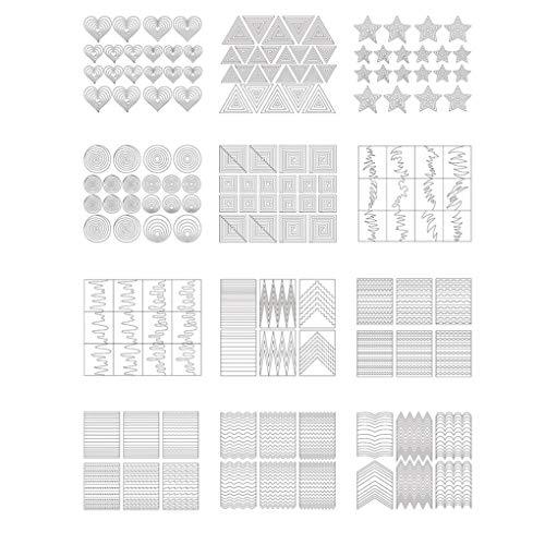 fish 12 Blätter/Set Großer Stern-Herz-Streife-Hohl Stencils Nail Sticker Formular Fringe DIY Maniküre-Dekoration-Abziehbild