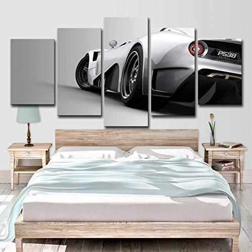 Fbhfbh Leinwanddruck Bild 5 Stücke Weiß Sportwagen Wohnzimmer Wandbild Hd Kunst Moderne Dekoration- 8X14/18/22Inch,With Frame -
