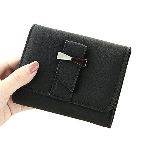 Woolala Elegantee Donna Papillon Breve Borsa A Portafoglio Multi - Card Slot Portafoglio Compatta Tasca Portafogli Blu Nero