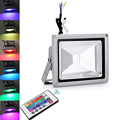Himanjie 100W RGB LED Floodlight, Remote Control, 16 Colours Changing, Waterproof IP65, Landscape Lights, Outdoor Wall Lights, AC 85-265V Security Lights, for Gardens, Yards, Rooftops, Billboards produced by Himanjie - quick delivery from UK.