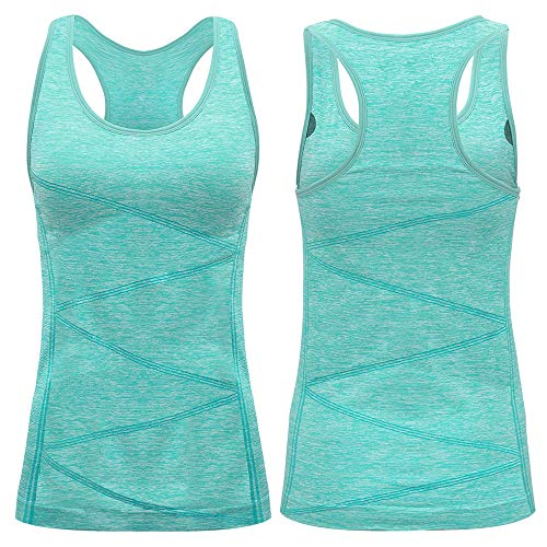 VANIS Sports Vest Women Ladies Tops with Support Bra Activewear Sleeveless Tops Sportswear T-Shirt Athletic Running Vest Top Yoga Workout Training Biking Cycle(Light Green,L/UK12/EU40)