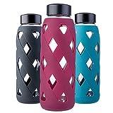 MIU COLOR 790ml Glas-Wasserflasche Trinkflasche mit Silikonhülle BPA-Frei Glasflashe für Büro, Wandern, Sport, Yoga (Dunkelrot)